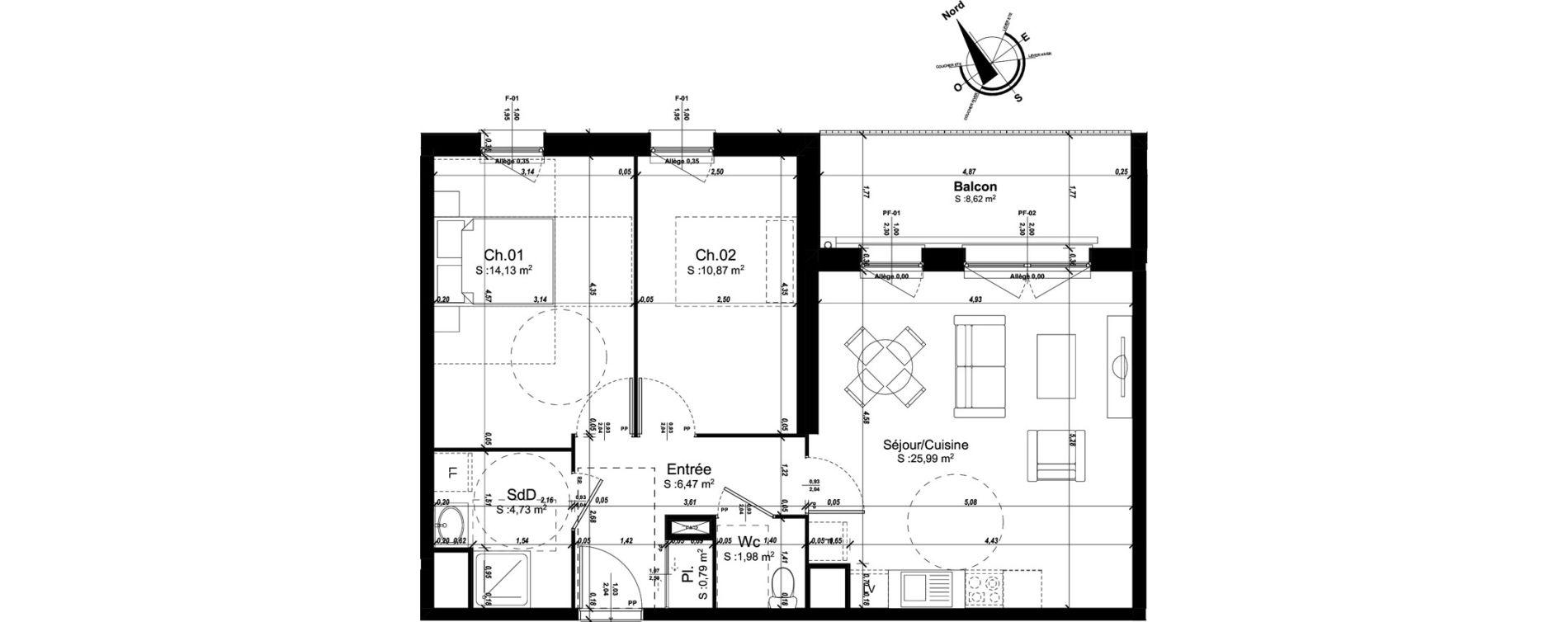 Appartement T3 de 64,96 m2 à Amiens Intercampus