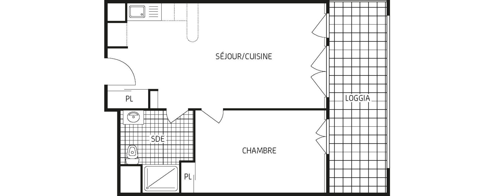 Appartement T2 de 42,84 m2 à Amiens Intercampus
