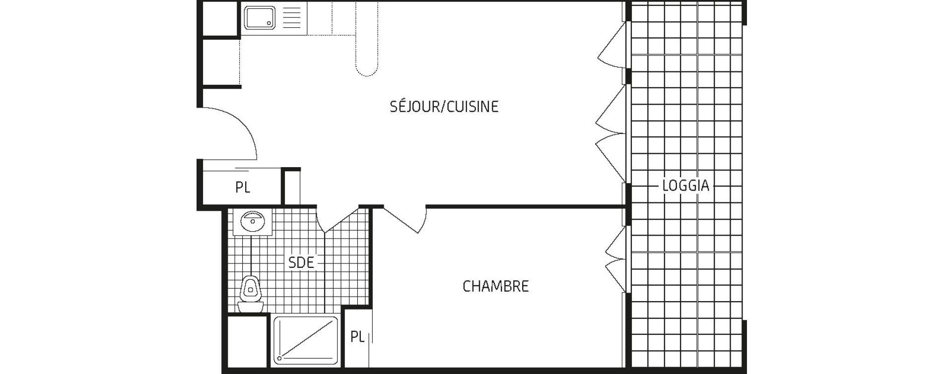 Appartement T2 de 42,87 m2 à Amiens Intercampus