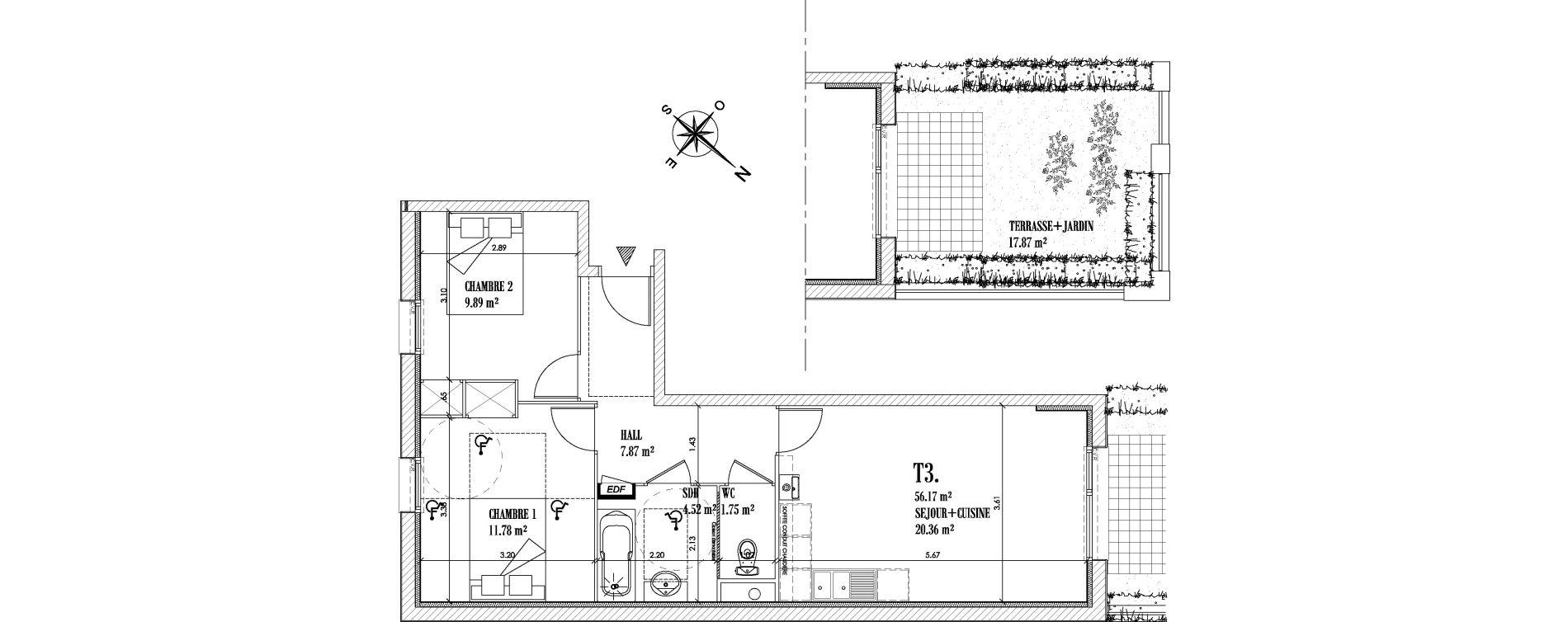 Appartement T3 de 56,17 m2 à Cayeux-Sur-Mer Centre