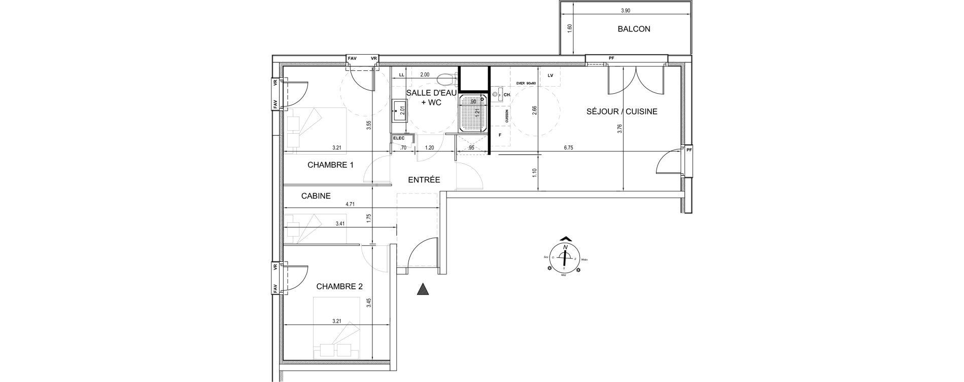 Appartement T3 de 62,84 m2 à Fort-Mahon-Plage Centre