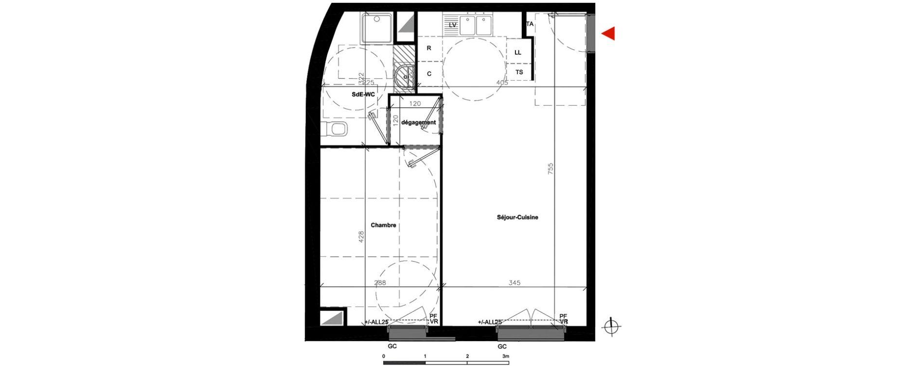 Appartement T2 de 45,80 m2 à Bondoufle Centre