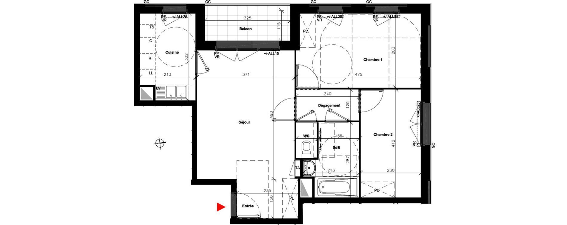 Appartement T3 de 59,80 m2 à Bondoufle Centre