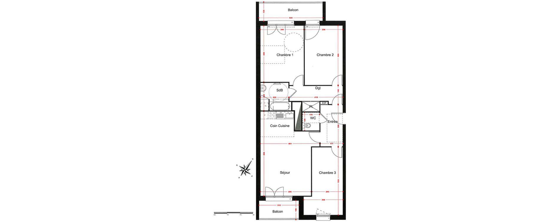 Appartement T4 de 87,25 m2 à Corbeil-Essonnes Centre