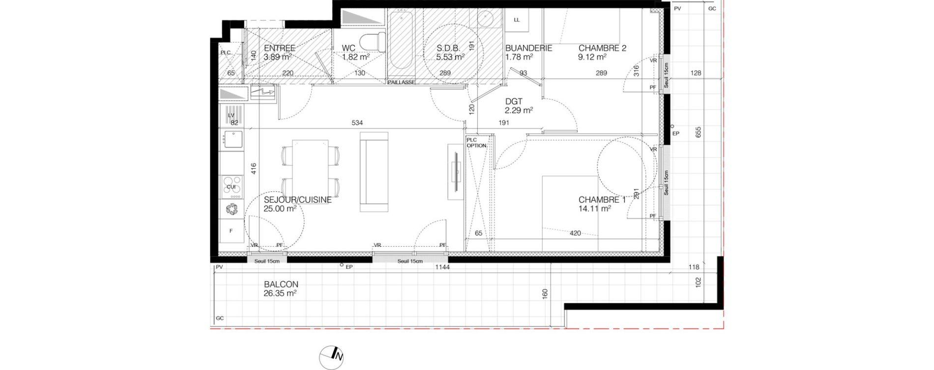 Appartement T3 de 63,71 m2 à Courcouronnes Courcouronnes les horizons