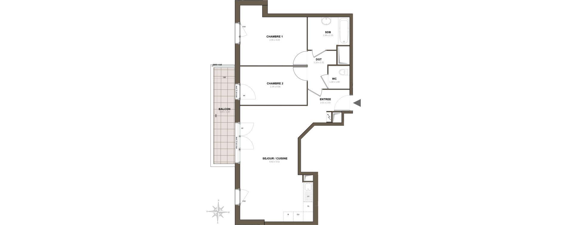 Appartement T3 de 64,46 m2 à Épinay-Sur-Orge Centre