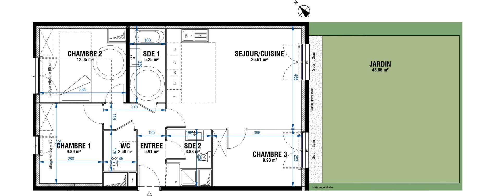 Appartement T4 de 77,12 m2 à Évry Les horizons