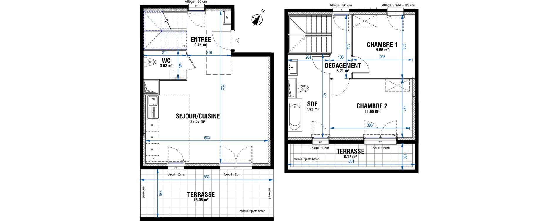Duplex T3 de 69,69 m2 à Évry Les horizons