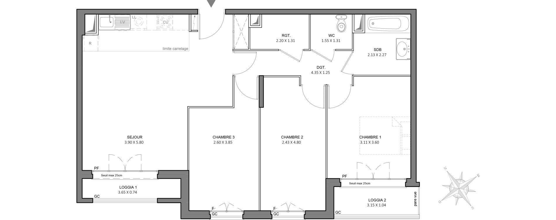 Appartement T4 de 76,80 m2 à Juvisy-Sur-Orge Centre