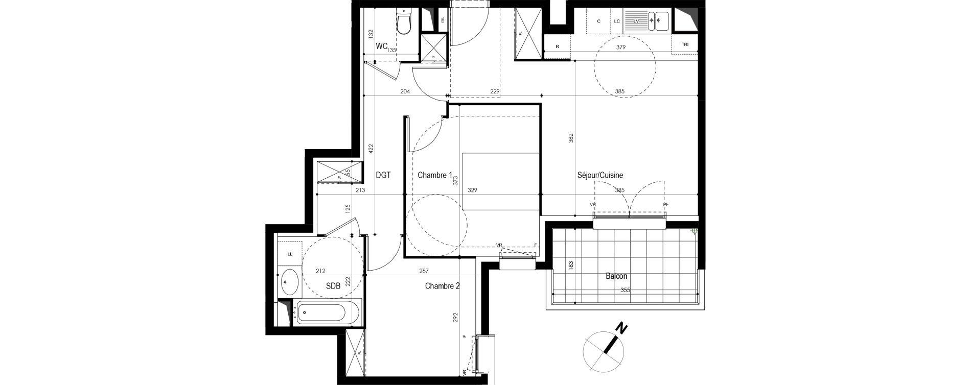 Appartement T3 de 59,20 m2 à Massy Atlantis