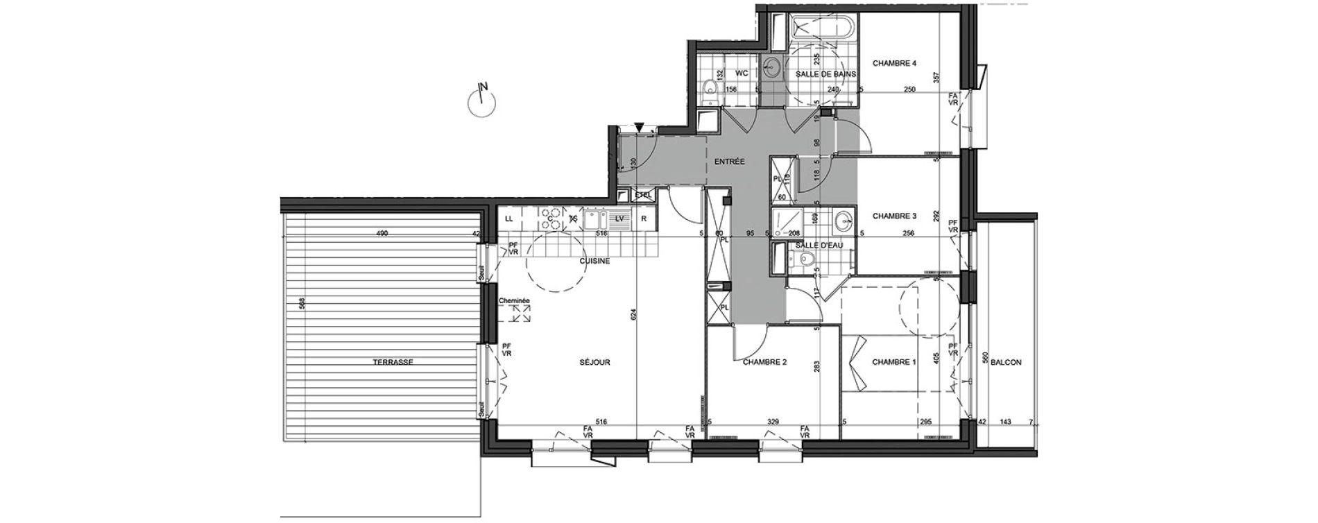 Appartement T5 de 96,27 m2 à Massy Vilgenis