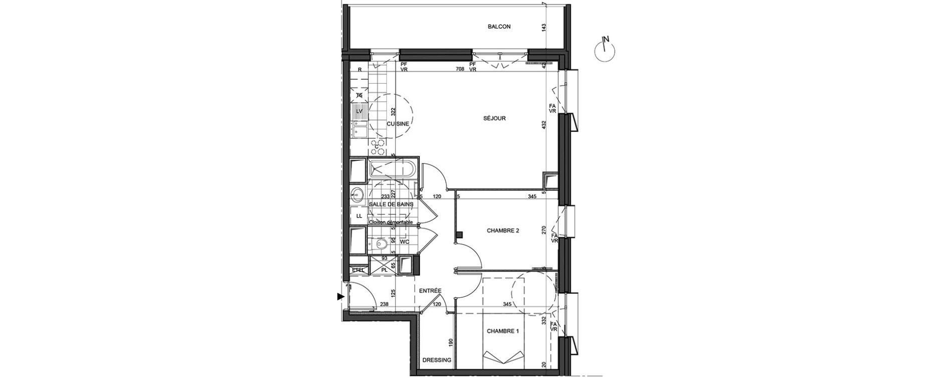 Appartement T3 de 65,50 m2 à Massy Vilgenis