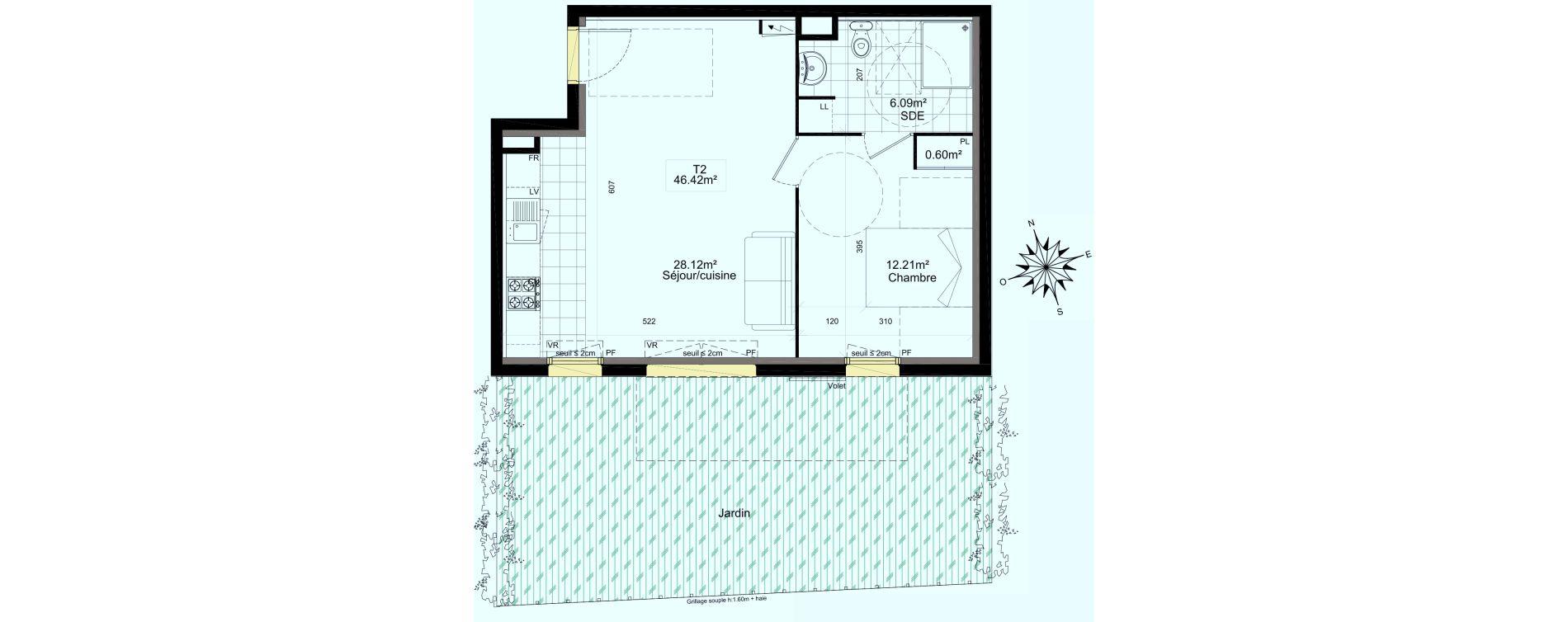 Appartement T2 de 46,42 m2 à Mauchamps Centre