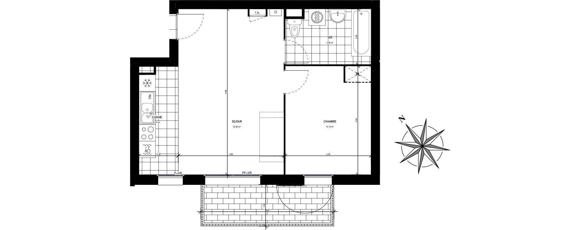 Appartement T2 de 46,33 m2 à Mauchamps Centre