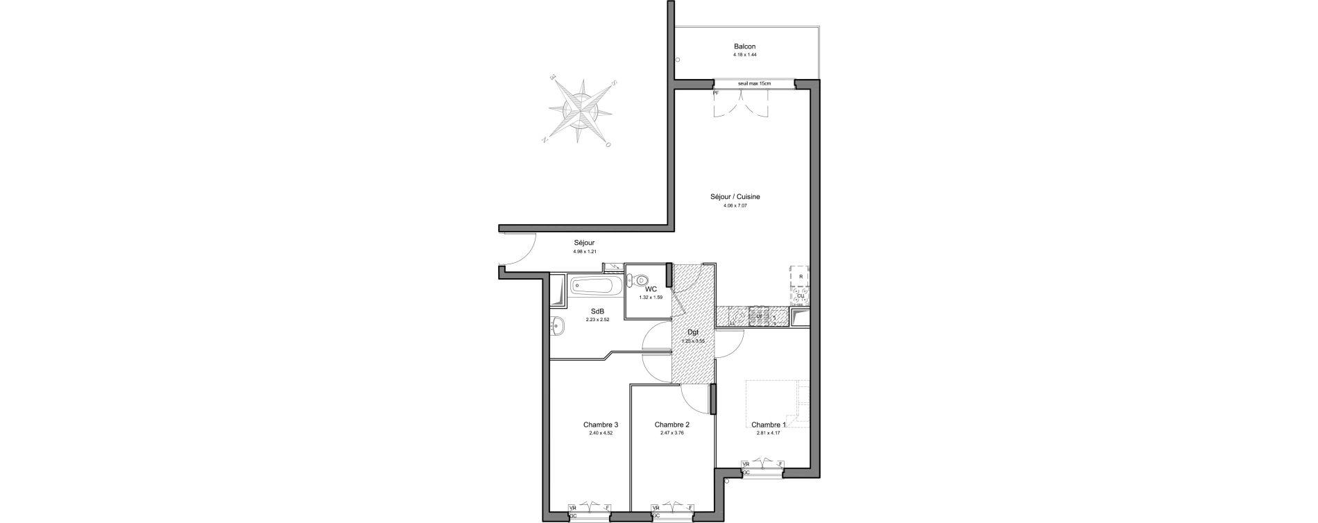 Appartement T4 de 77,26 m2 à Mennecy Centre