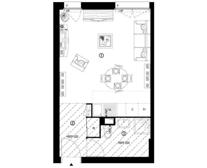 Appartement t1 ris orangis n 364 nord ouest for Appartement nord ouest
