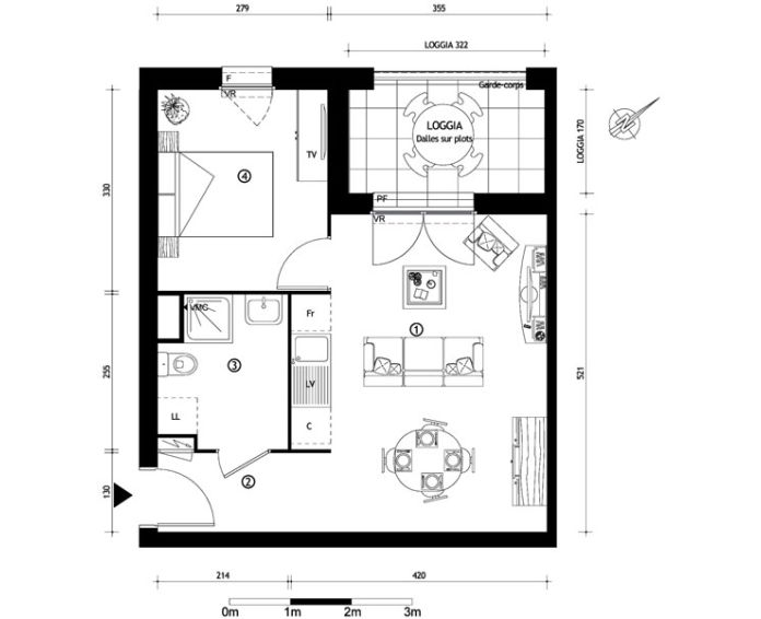 Appartement t2 ris orangis n 376 nord ouest for Appartement nord ouest