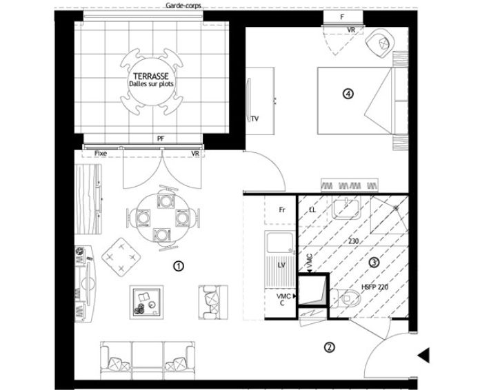 Appartement t2 ris orangis n 403 nord ouest for Appartement nord ouest