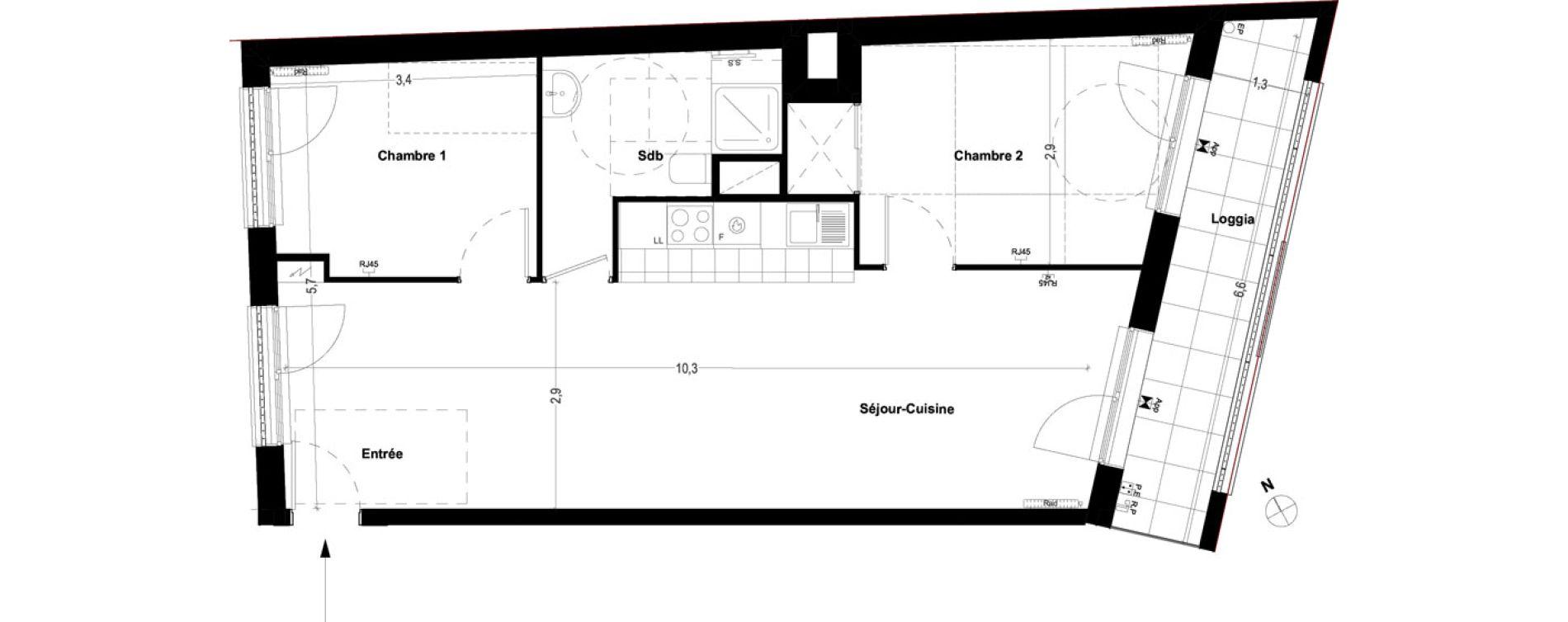 Appartement T3 de 62,20 m2 à Ris-Orangis Centre
