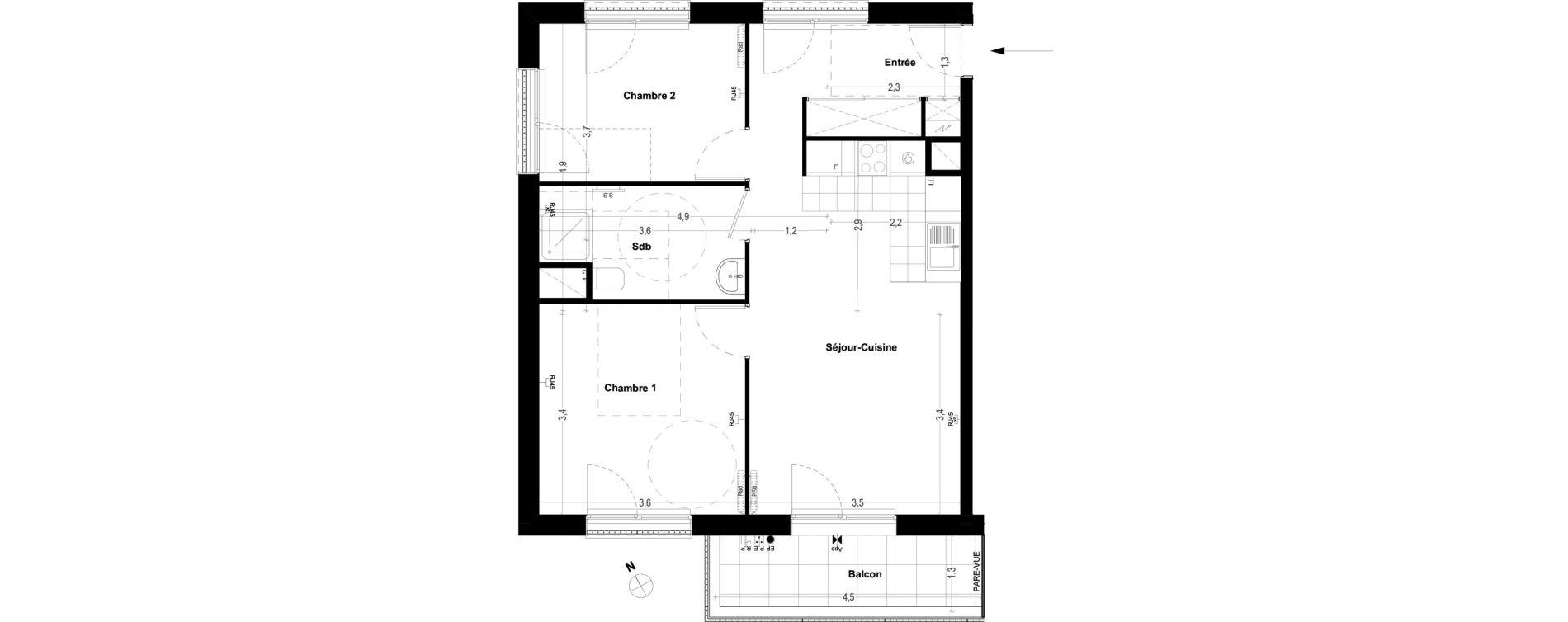 Appartement T3 de 57,30 m2 à Ris-Orangis Centre