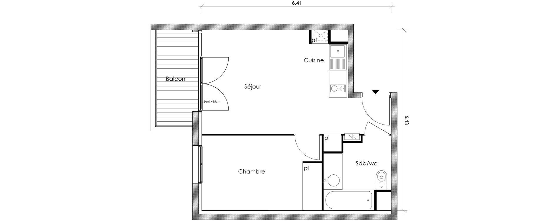 Appartement T2 de 34,52 m2 à Vert-Le-Petit Centre