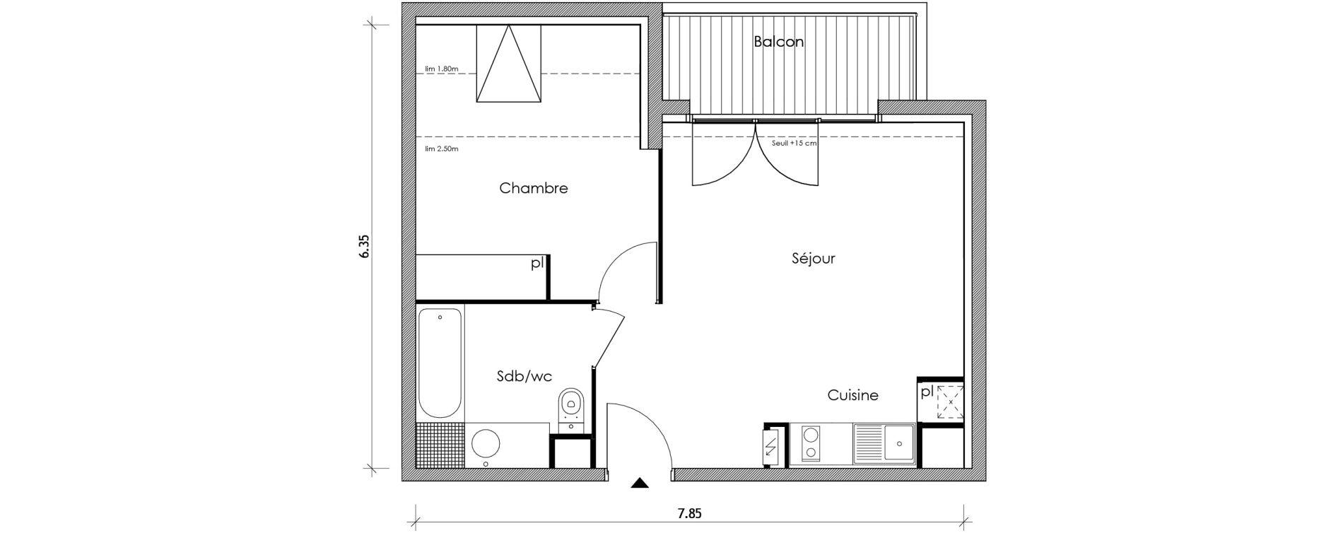 Appartement T2 de 40,10 m2 à Vert-Le-Petit Centre