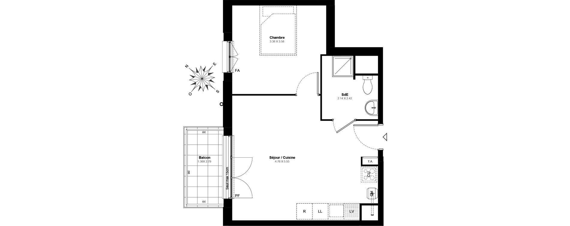 Appartement T2 de 39,90 m2 à Villabé Centre