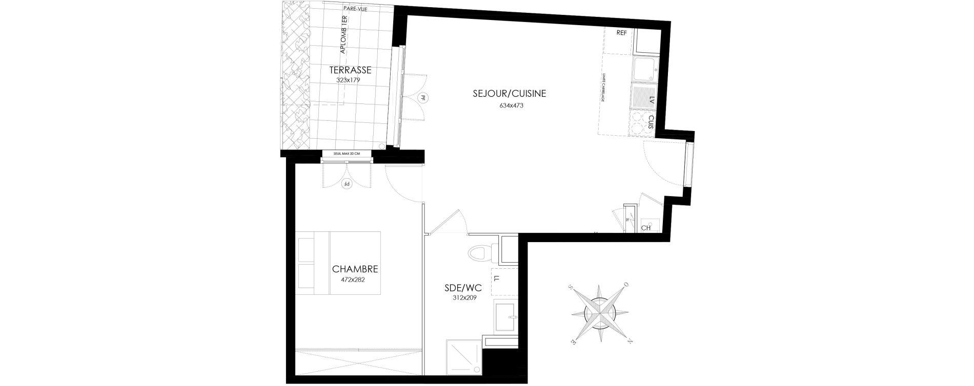 Appartement T2 de 44,80 m2 à Asnières-Sur-Seine L'alma