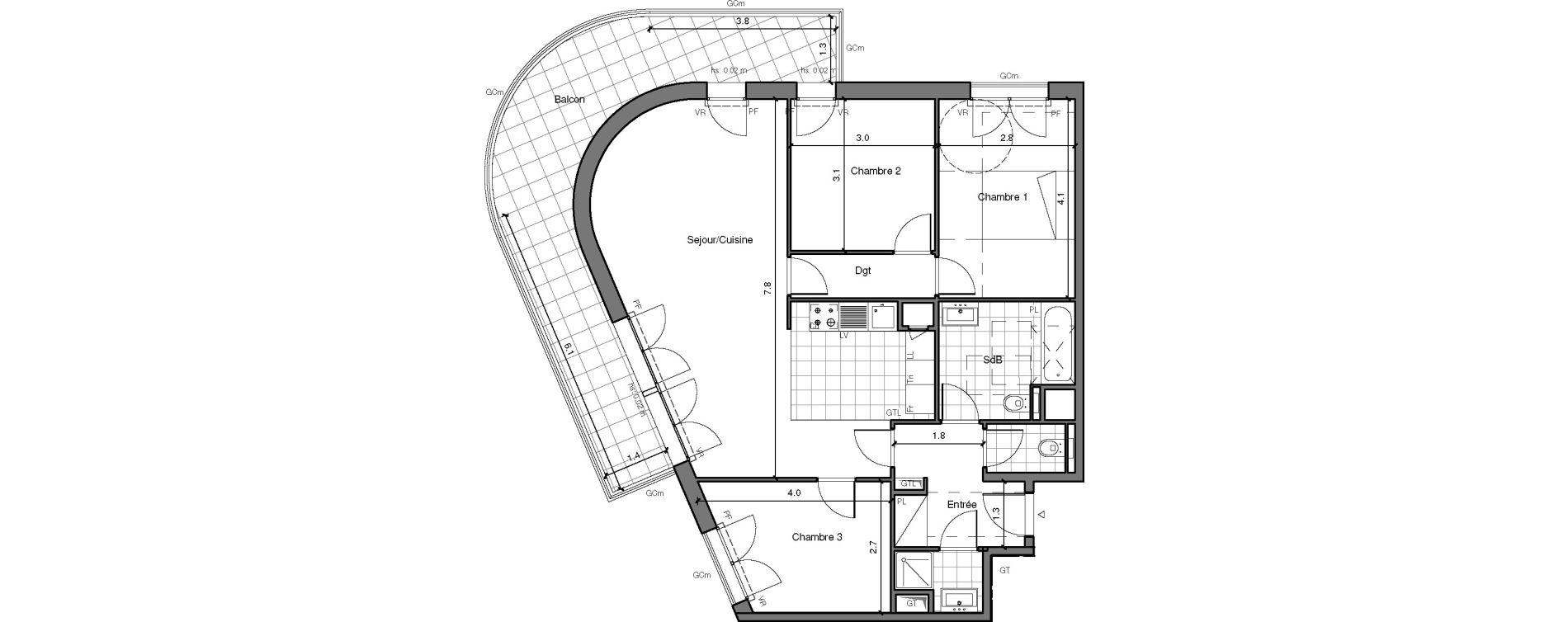 Appartement T4 de 79,17 m2 à Châtenay-Malabry Lavallée