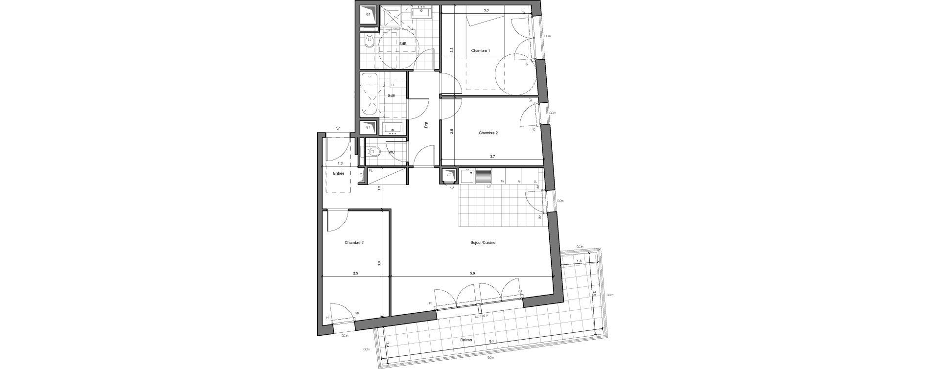 Appartement T4 de 78,88 m2 à Châtenay-Malabry Lavallée