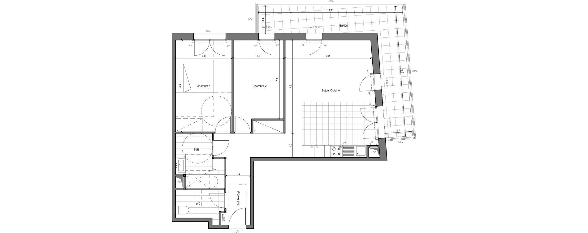 Appartement T3 de 67,09 m2 à Châtenay-Malabry Lavallée
