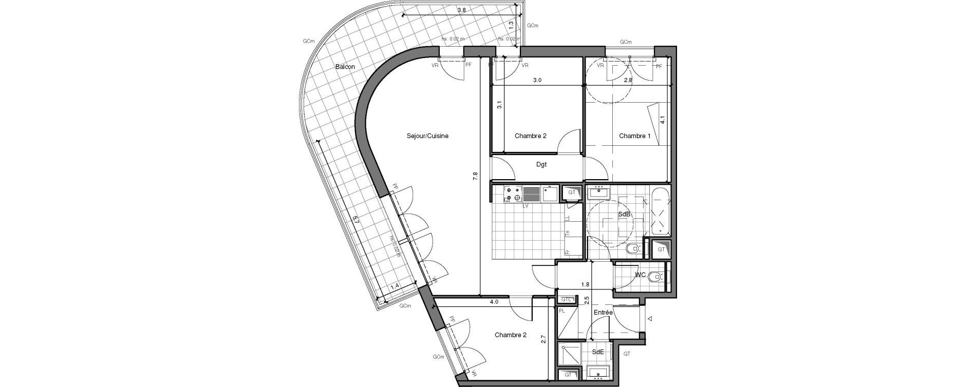 Appartement T4 de 81,73 m2 à Châtenay-Malabry Lavallée