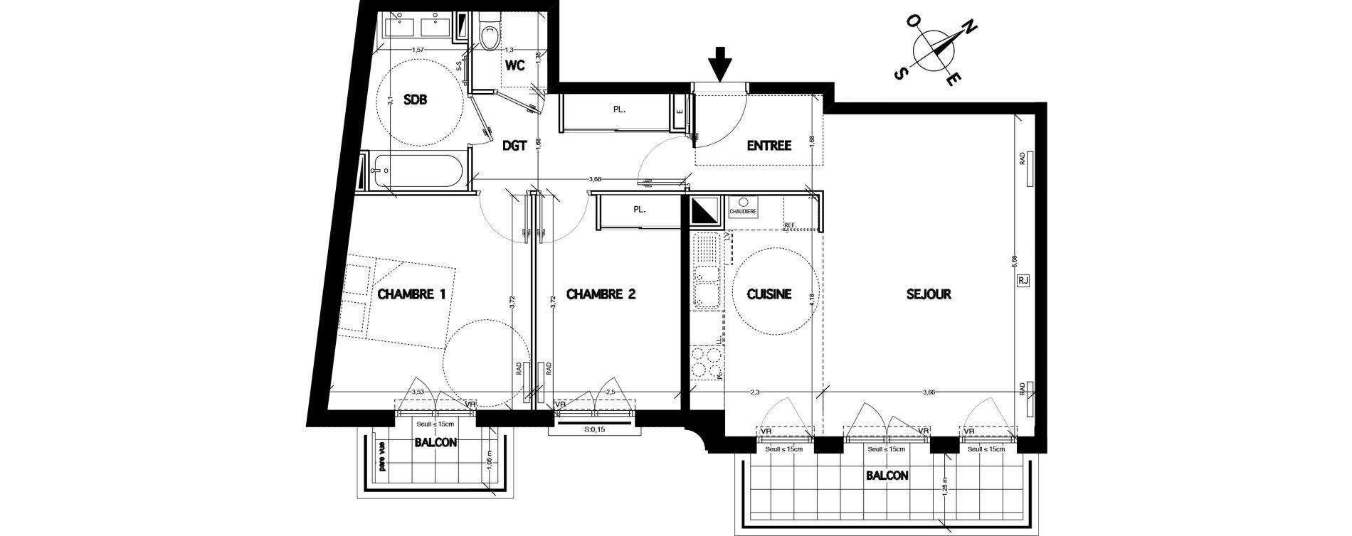 Appartement T3 de 67,10 m2 à Clamart Bois de clamart