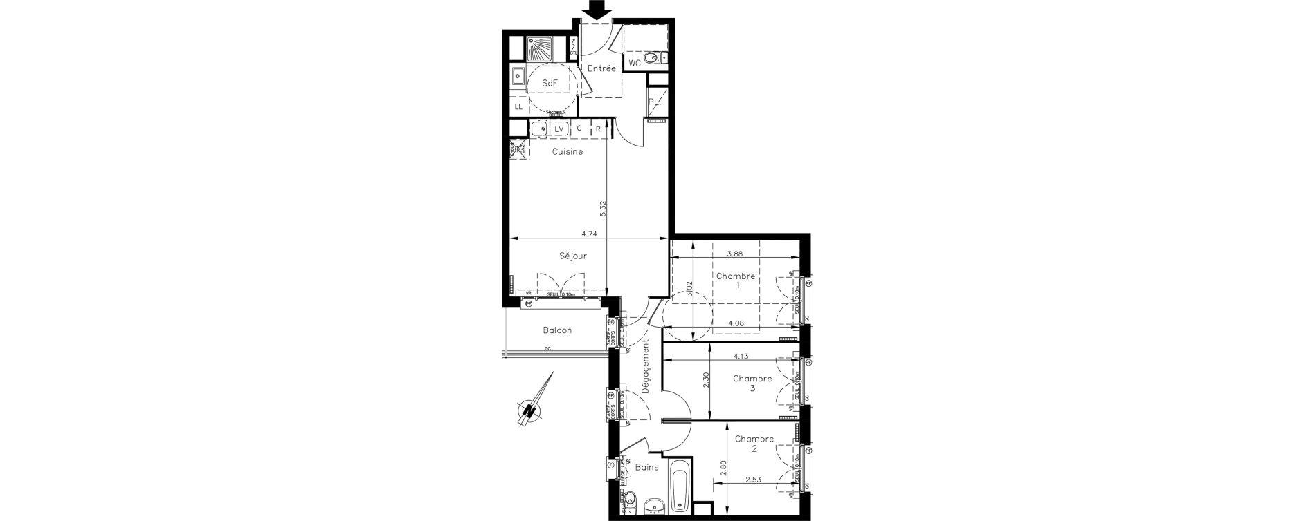 Appartement T4 de 76,56 m2 à Clamart Le petit clamart