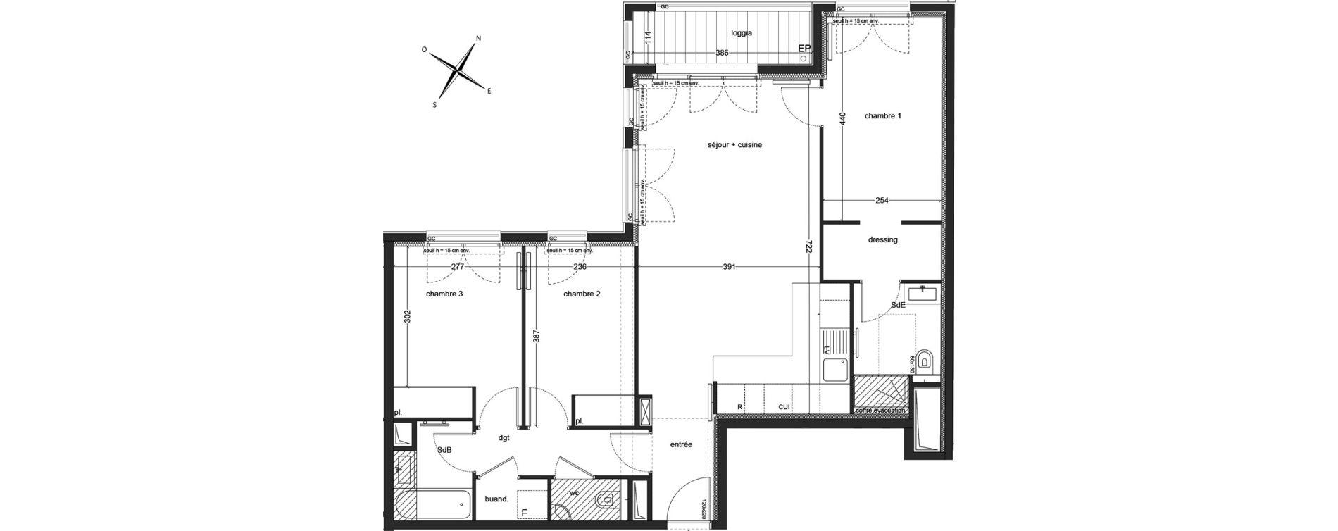 Appartement T4 de 81,40 m2 à Clichy Mairie de clichy