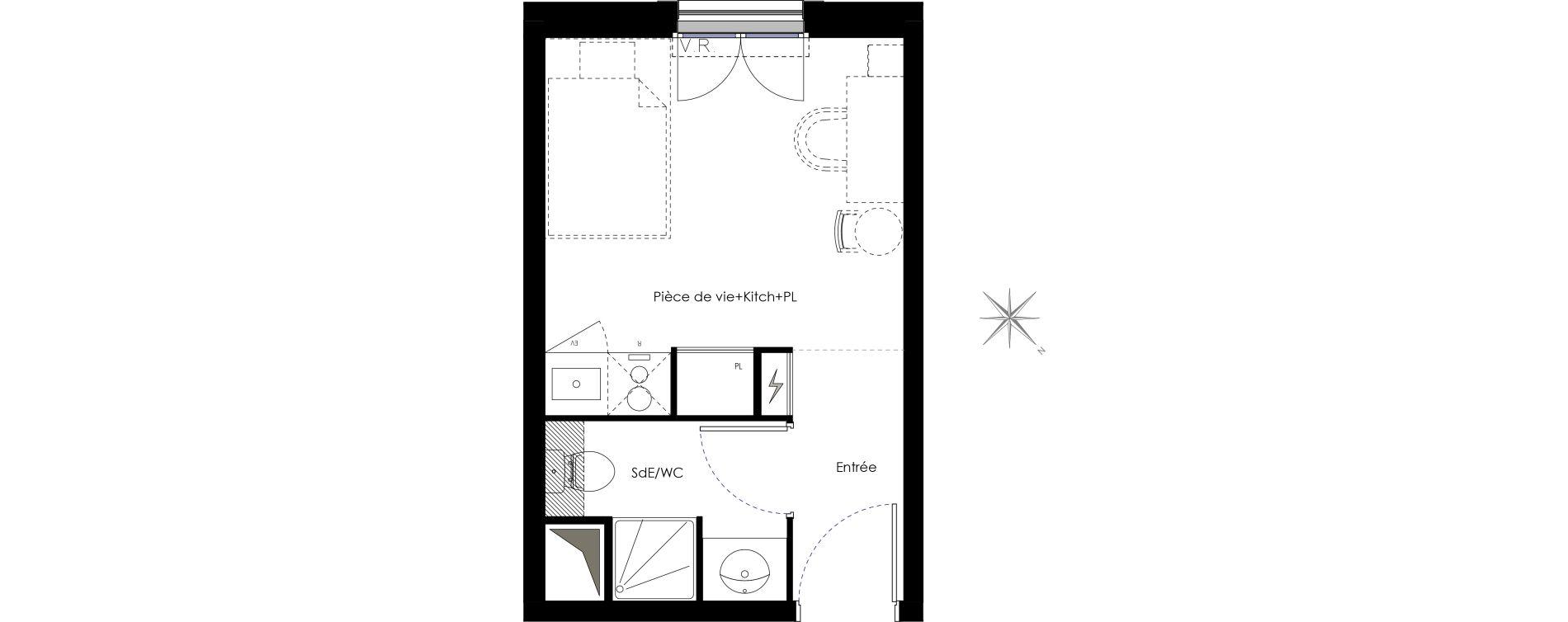 Appartement T1 meublé de 17,38 m2 à Fontenay-Aux-Roses Scarron