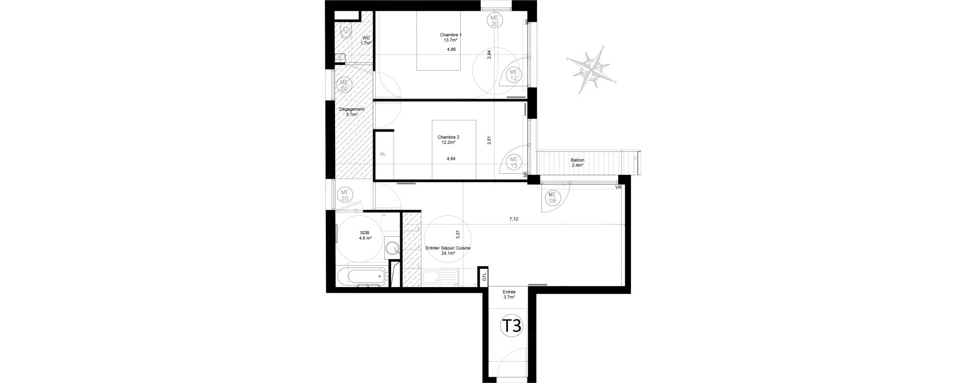 Appartement T3 de 65,70 m2 à Issy-Les-Moulineaux Chemin des vignes
