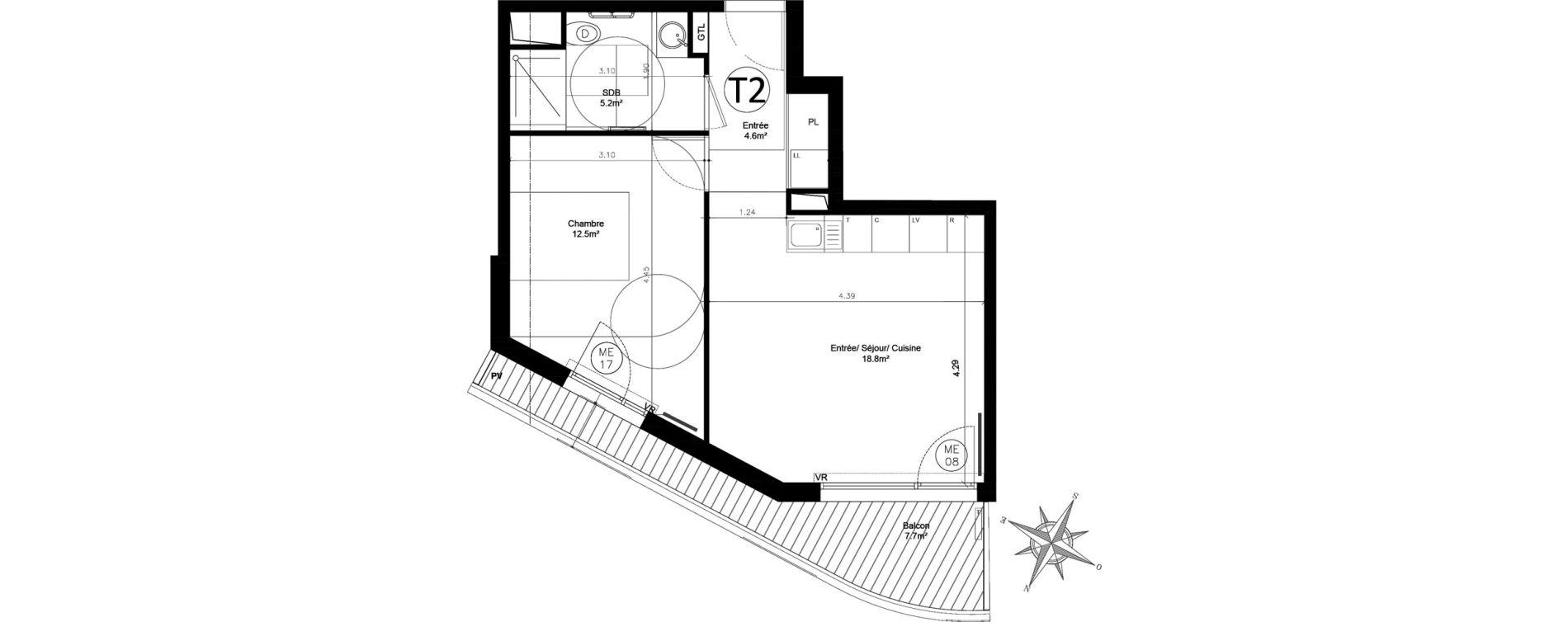 Appartement T2 de 41,10 m2 à Issy-Les-Moulineaux Chemin des vignes