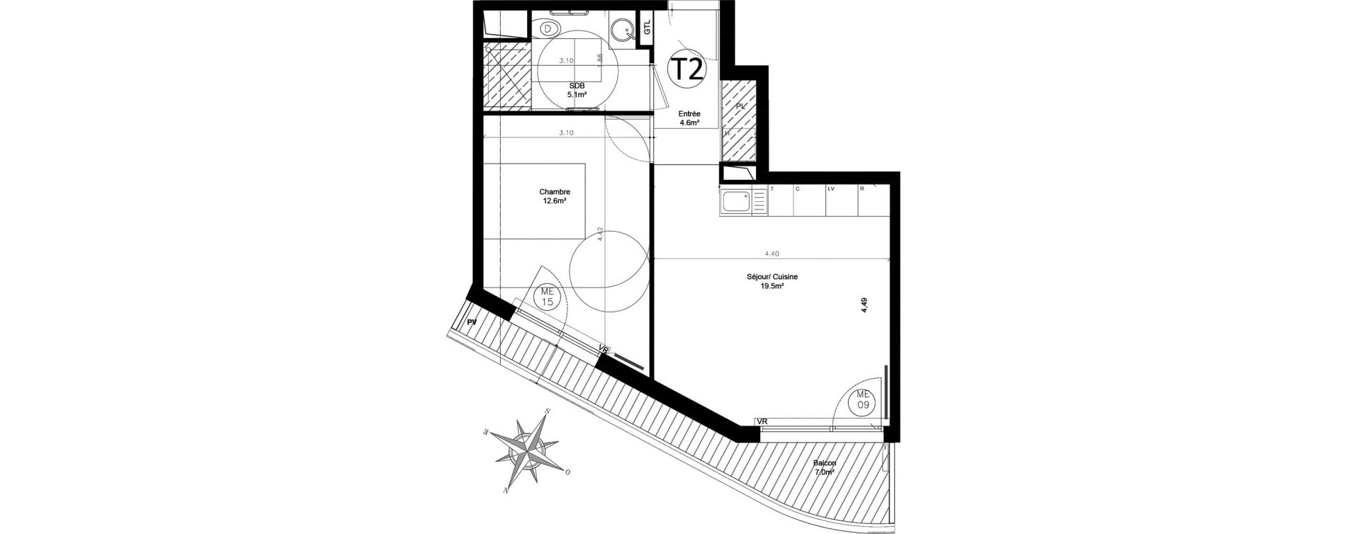 Appartement T2 de 41,80 m2 à Issy-Les-Moulineaux Chemin des vignes