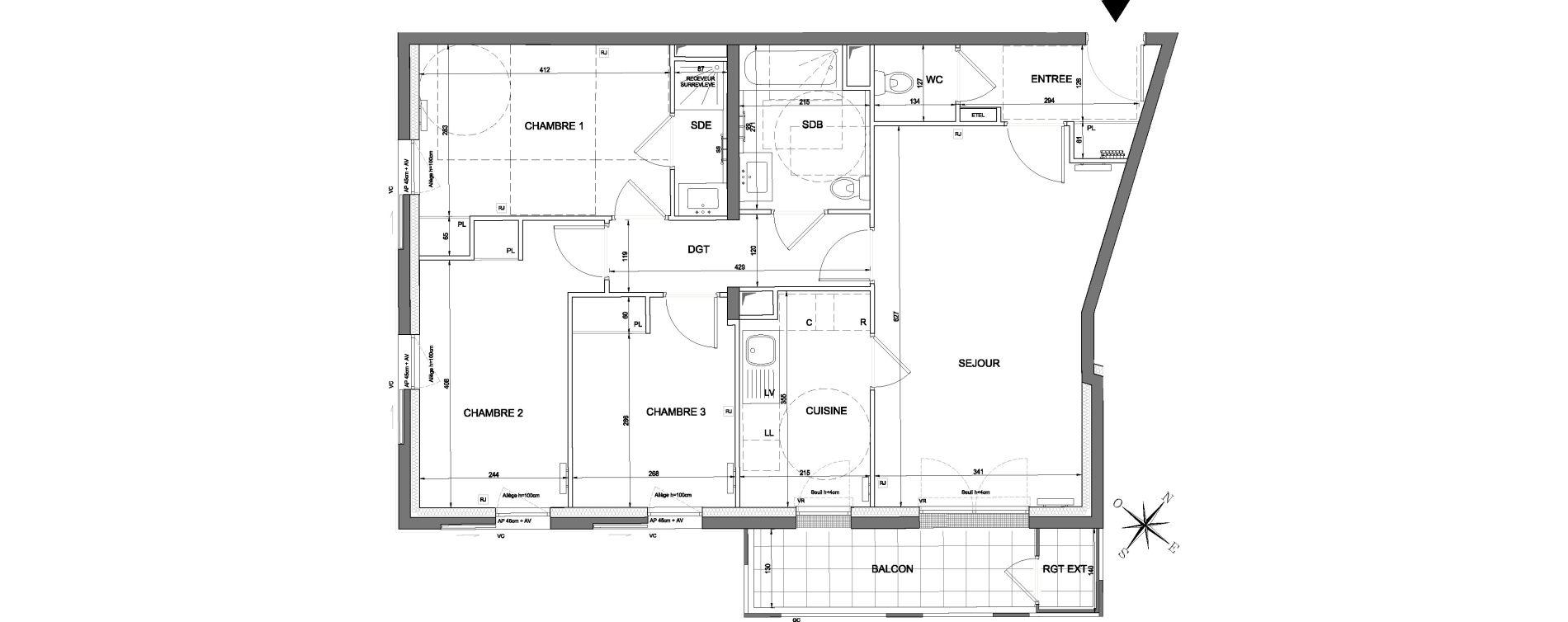 Appartement T4 de 82,17 m2 à Nanterre Nanterre université