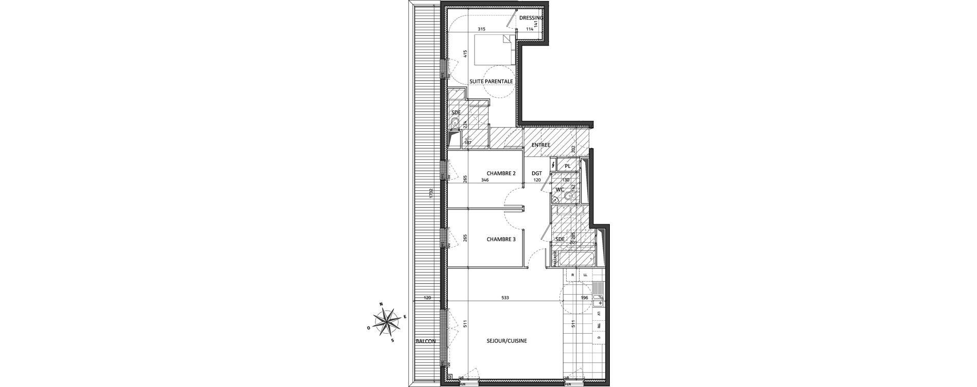 Appartement T4 de 95,03 m2 à Rueil-Malmaison Buzenval