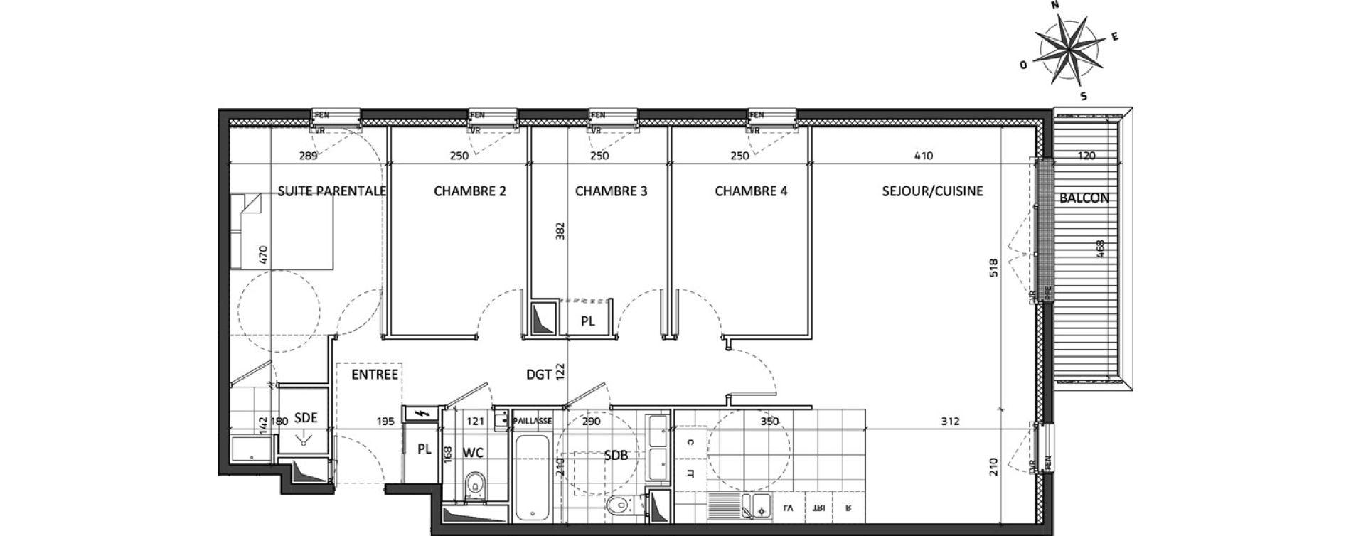 Appartement T5 de 99,39 m2 à Rueil-Malmaison Buzenval