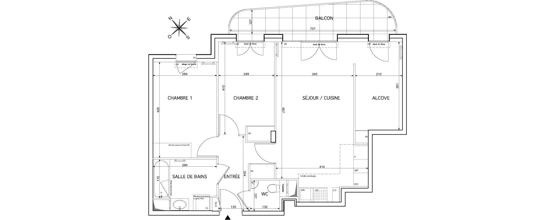Appartement T3 de 69,17 m2 à Rueil-Malmaison Le mont-valérien