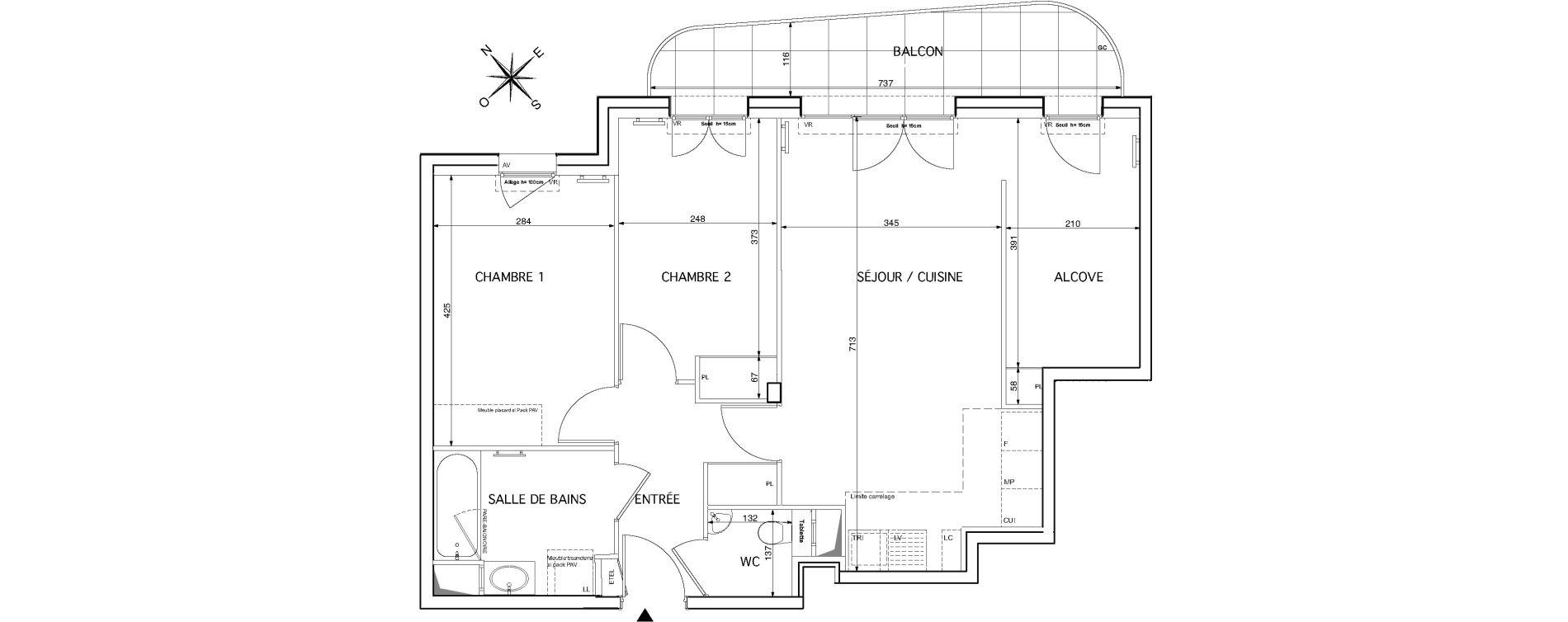 Appartement T3 de 69,21 m2 à Rueil-Malmaison Le mont-valérien