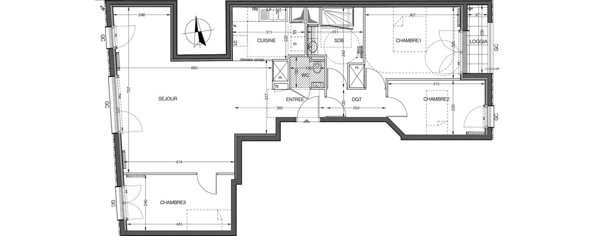 Appartement T4 de 67,87 m2 à Saint-Cloud Centre