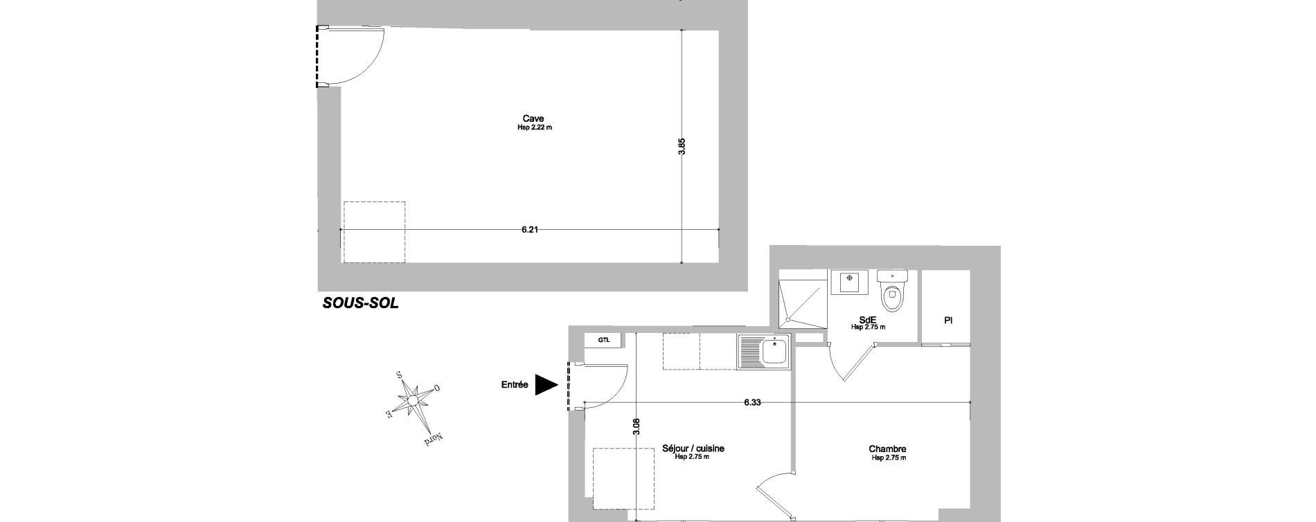 Appartement T2 de 21,10 m2 à Paris