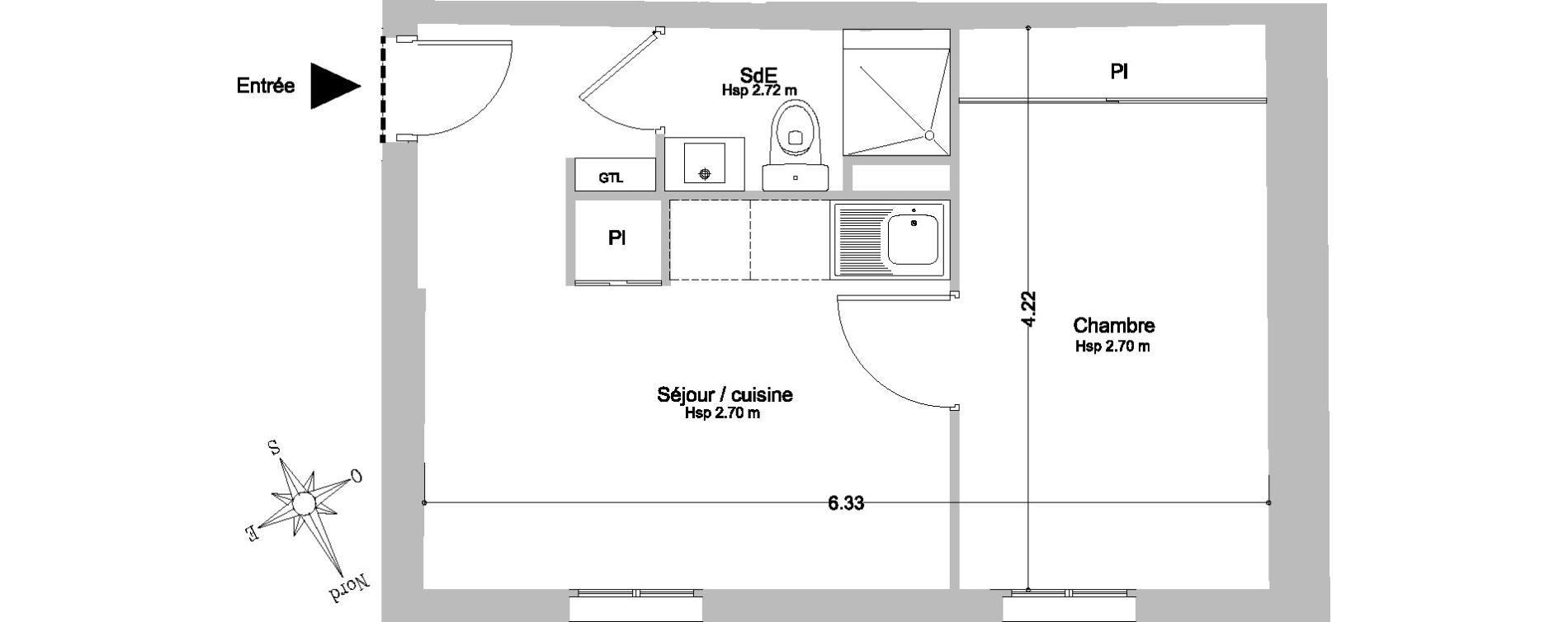 Appartement T2 de 25,80 m2 à Paris
