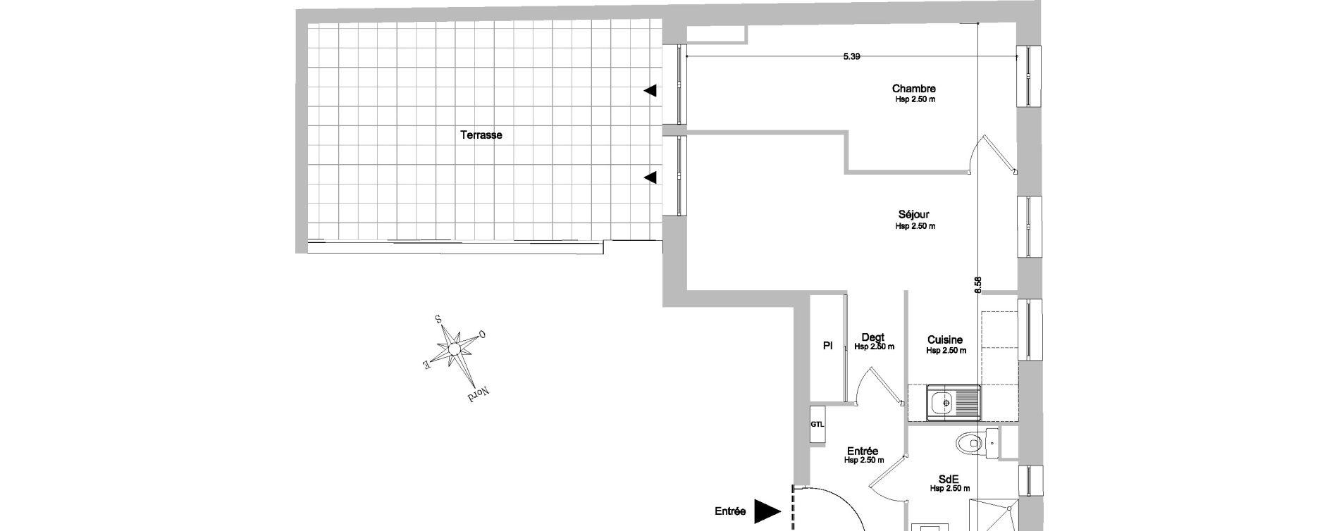 Appartement T2 de 35,95 m2 à Paris