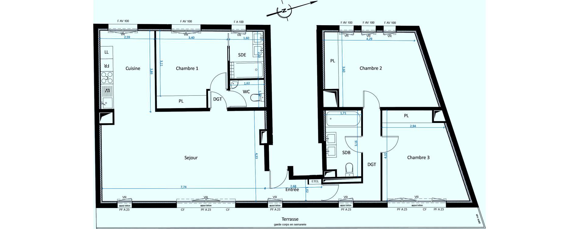 Appartement T4 de 106,00 m2 à Paris