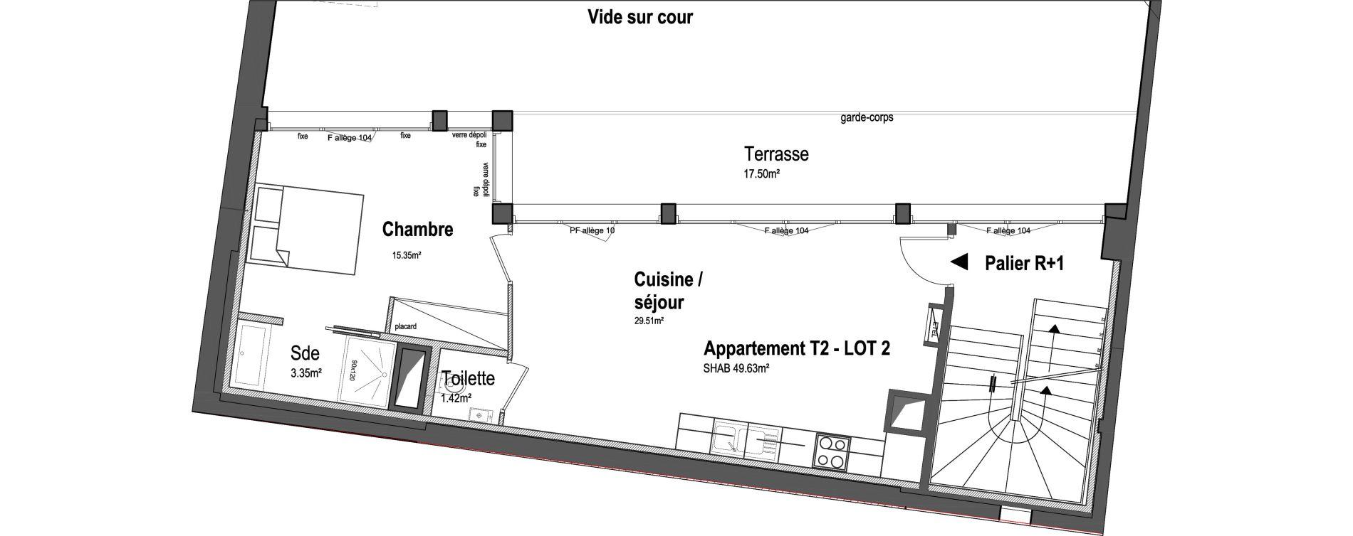 Appartement T2 de 49,63 m2 à Paris